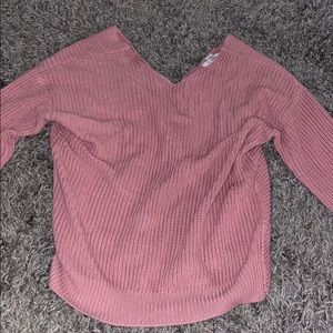 Pink cross knot sweater